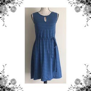 {Lysse} Blue Striped Keyhole Linen Casual Dress